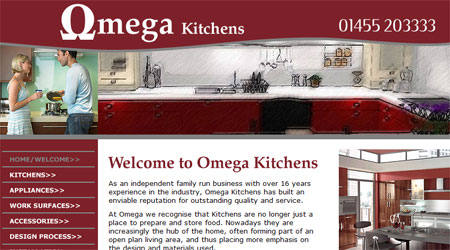 A screenshot of the Omega Kitchens Website