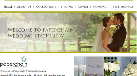 A screenshot of The Paperchain Wedding Stationery website