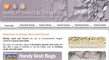 A screenshot of the Wanlip Sand and Gravel Website